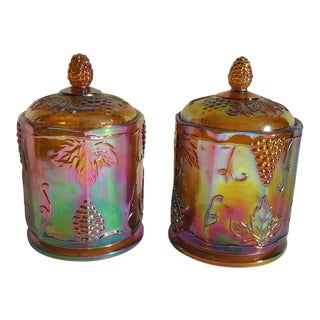 Marigold Carnival Ware Grape Design Canisters - a Pair