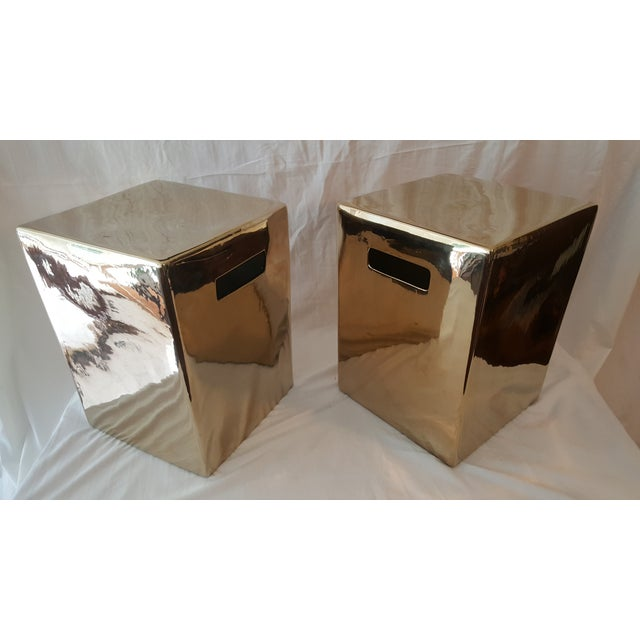 Set of Gold Garden Stools - Pair - Image 2 of 5