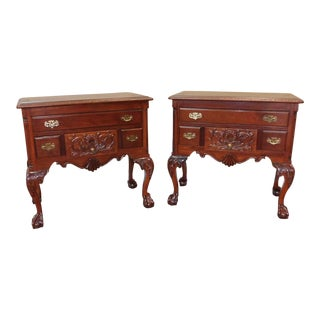 Pair Imported Reproduction Carved Mahogany Chippendale Lowboy Chests C1990s
