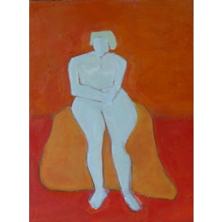 "Bill Tansey ""Woman on Rock"" Abstract Oil Painting on Canvas For Sale"