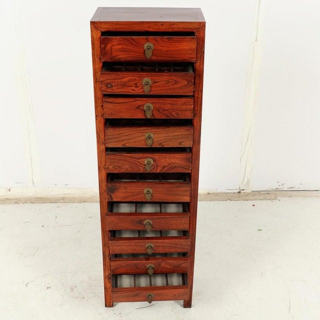 Tall Slim Elm Jewelry Dresser With Brass Chinoiserie Pulls For Sale - Image 4 of 12