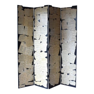 Antique Victorian Wood Screen Room Divider With Music Sheets For Sale