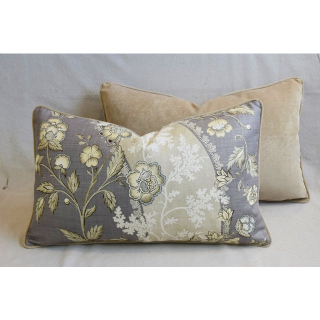 "Floral Linen & Velvet Feather/Down Pillows 26"" X 16"" - Pair For Sale - Image 10 of 12"
