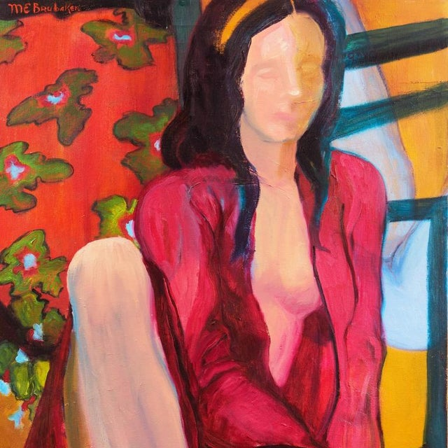 Impressionist Molly E. Brubaker Young Woman Seated in Interior For Sale - Image 3 of 6