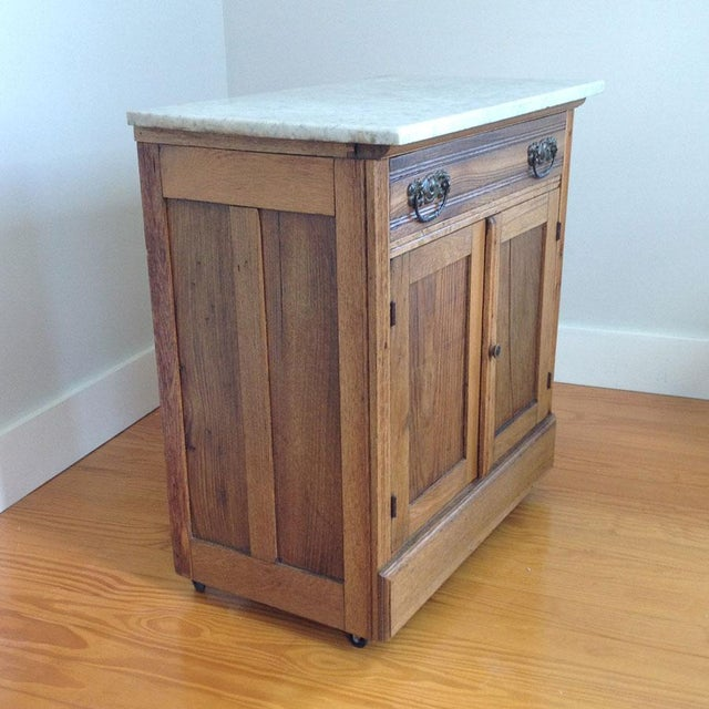 Early 20th Century Early 20th Century Country Oak and Marble Washstand Cupboard For Sale - Image 5 of 10