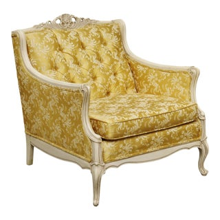 Louis XV Style Bergeré in Antique White & Gold For Sale
