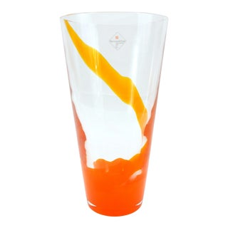 Barovier & Toso Orange Murano Glass Vase For Sale