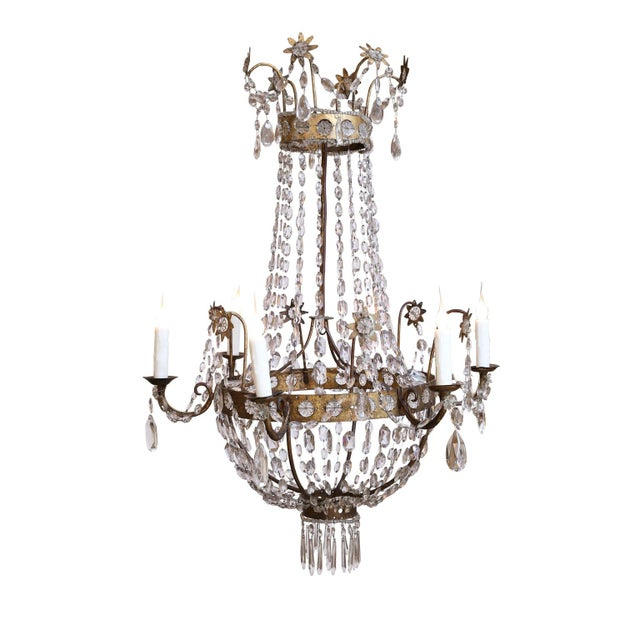 19th Century Neoclassical Gilt-Iron Chandelier For Sale - Image 13 of 13
