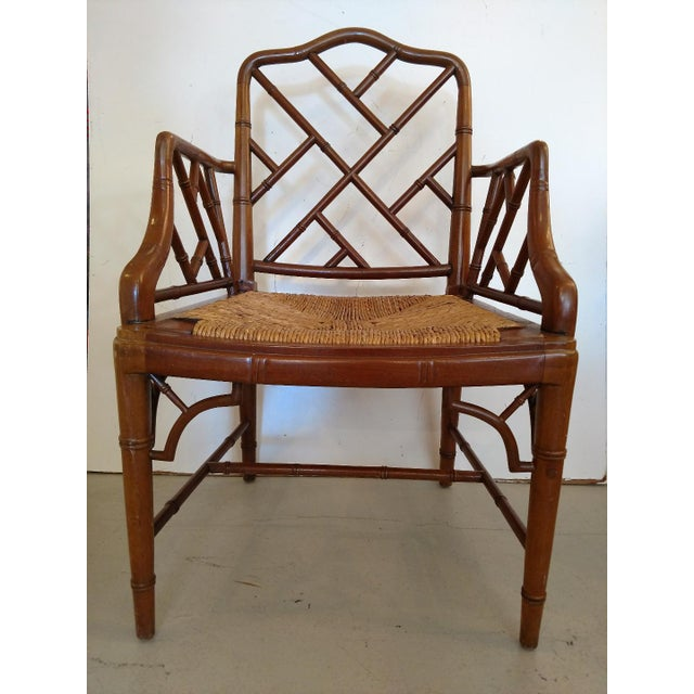 This is a beautiful Chippendale Style, Faux Bamboo Armchair, with a woven rush seat. The chair is very well made, with...