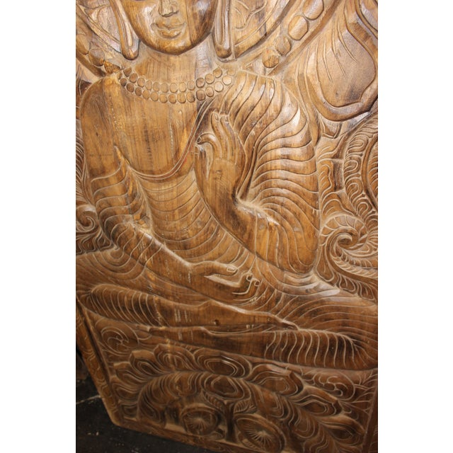 1990s 1990s Vintage Hand Carved Buddhism Panel For Sale - Image 5 of 8