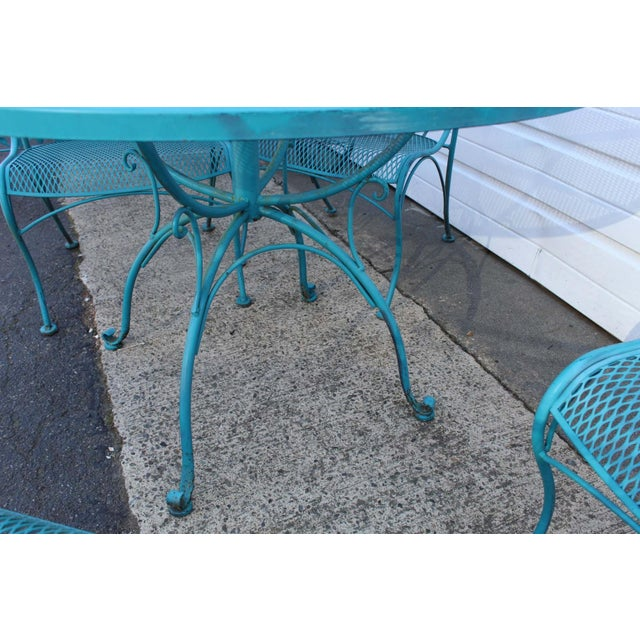 Mid Century Modern Aqua Blue Wrought Iron Patio Set With Lounge on Wheels For Sale - Image 12 of 13