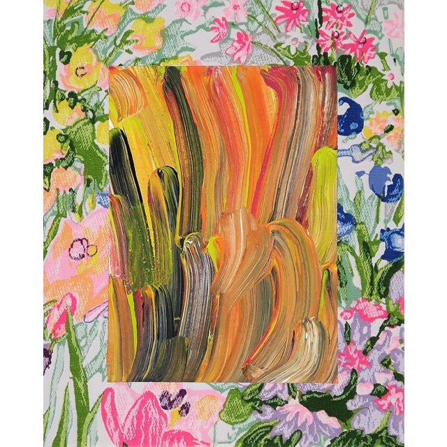 """Contemporary Abstract Floral Acrylic on Vintage Textile by Frances Sousa, """"Harley, David, Jean"""" For Sale"""
