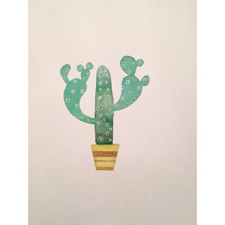 Contemporary 70's Cactus Watercolor Painting For Sale