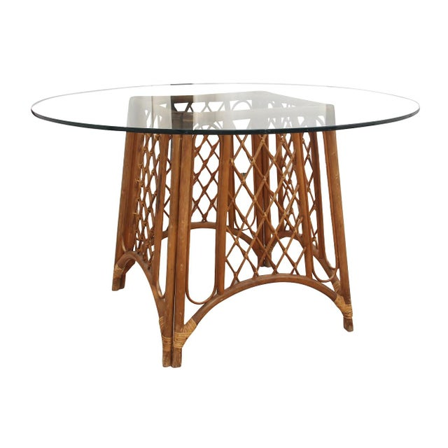 1970s Bamboo and Glass Pedestal Table For Sale - Image 5 of 5