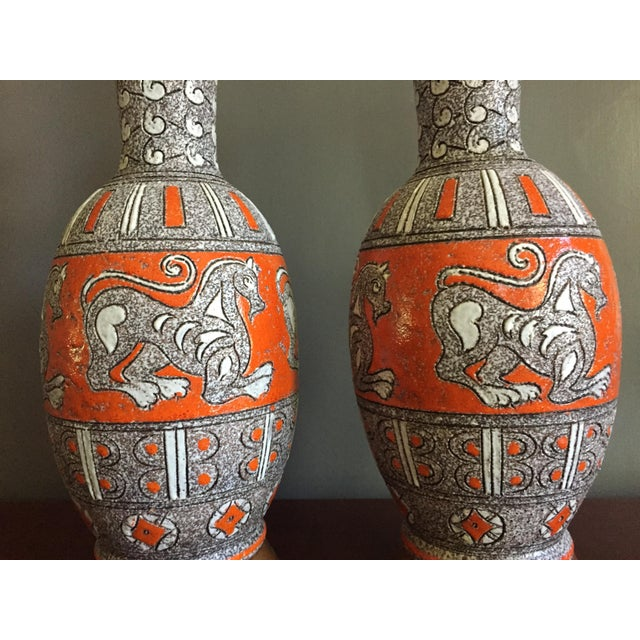 Pair Of Mid Century Modern Italian Pottery Raymor Lamps By