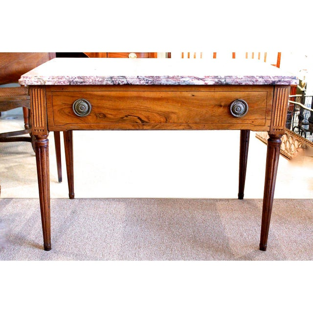 18th Century Italian Neoclassical Inlaid Marble Top Console For Sale - Image 9 of 10
