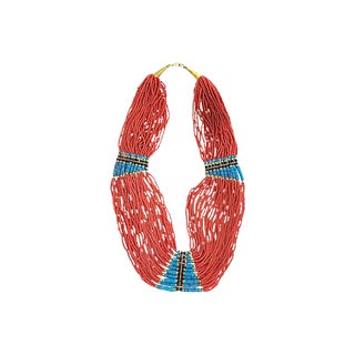 Multi-Strand Costume Coral Turquoise and Wood Beaded Necklace For Sale