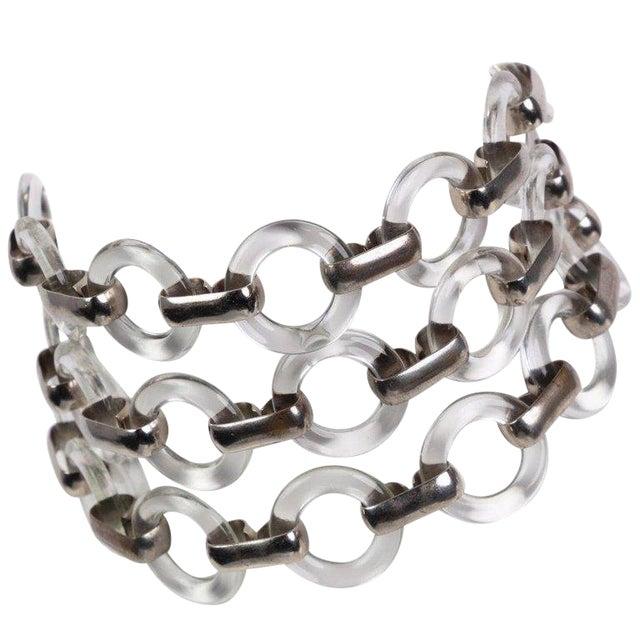 40cf88dd654e Vintage Yves Saint Laurent Lucite Rings Silver Link Necklace Belt For Sale