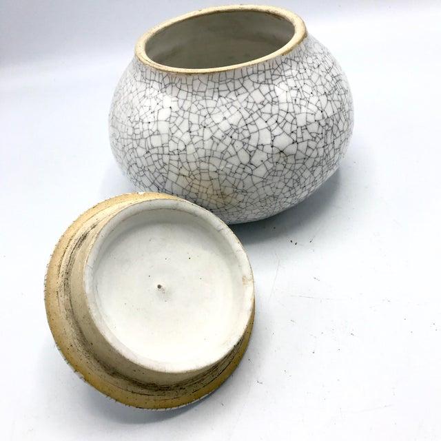 Studio Pottery Signed Crackle Glaze Lidded Ginger Jar For Sale In New York - Image 6 of 13