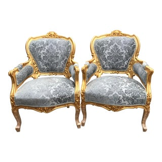 Vintage 1900's French Louis XVI Damask Pair of Chairs For Sale