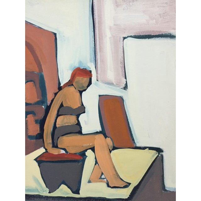 """Abstract Expressionism 1950s Gouache Figurative Painting Bay Area Artist """"Bikini"""" For Sale - Image 3 of 6"""