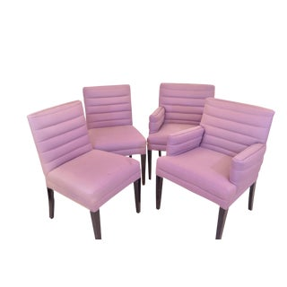 Vintage Art Deco Inspired Purple Upholstered Chairs - Set of 4