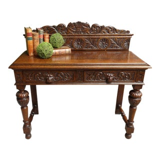Antique English Tiger Oak Carved Foyer Sofa Table Renaissance Sideboard Gothic For Sale