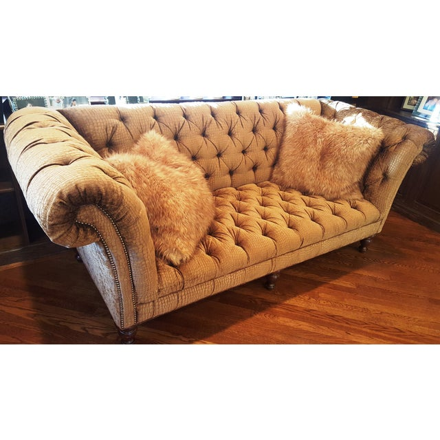 Crocodile Embossed Chenille Chesterfield Sofa - Image 3 of 3