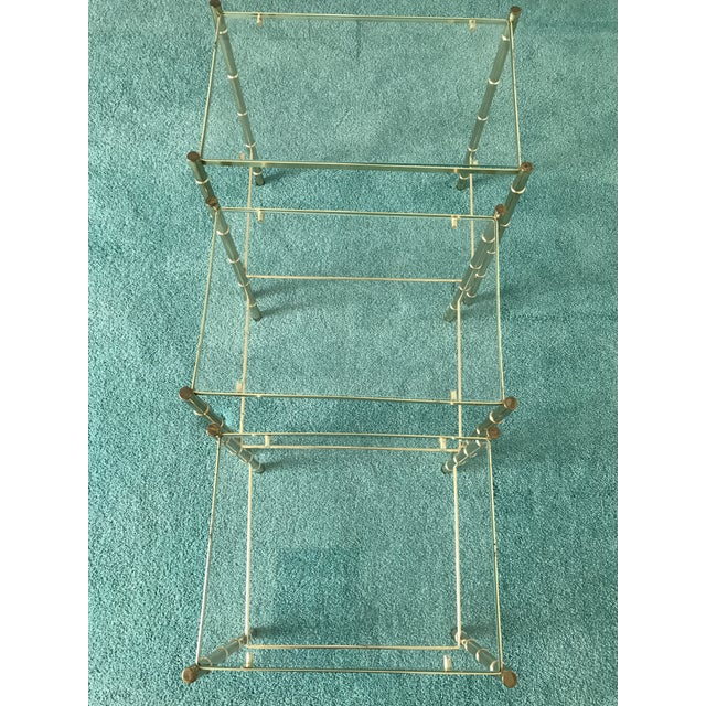 Contemporary Vintage Glass Top and Metal Nesting Tables- Set of 3 For Sale - Image 3 of 13