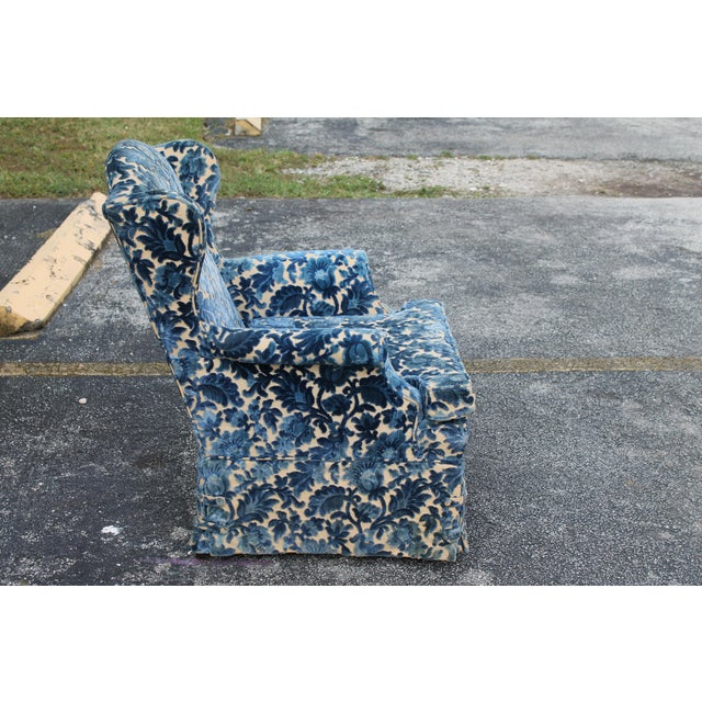 Cut Crushed Velvet Wingback Chairs - A Pair For Sale - Image 7 of 10