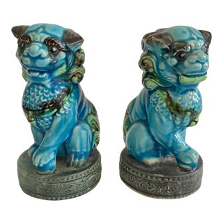 Small Foo Dogs Turquoise Figurines - a Pair For Sale