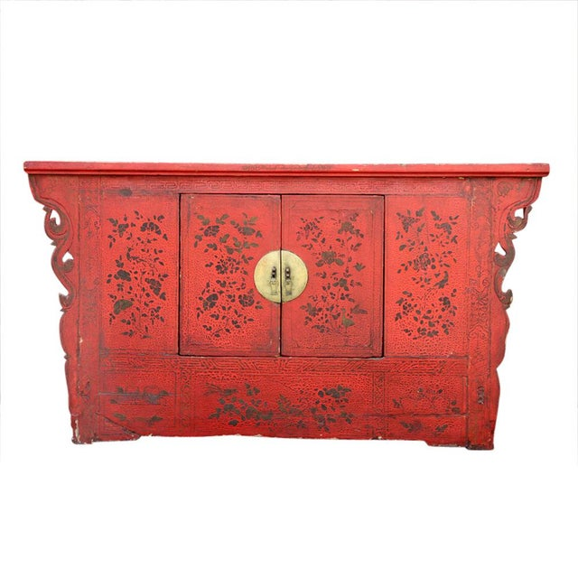 Red Antique Chinoiserie Lacquer Cabinet For Sale - Image 8 of 8