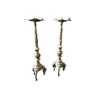 Bronze Asian Dragons Candle Holder Pair Preview
