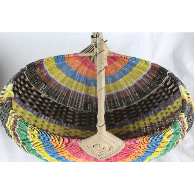 African 20th Century Zulu Telephone Wire Rainbow Basket For Sale - Image 3 of 7