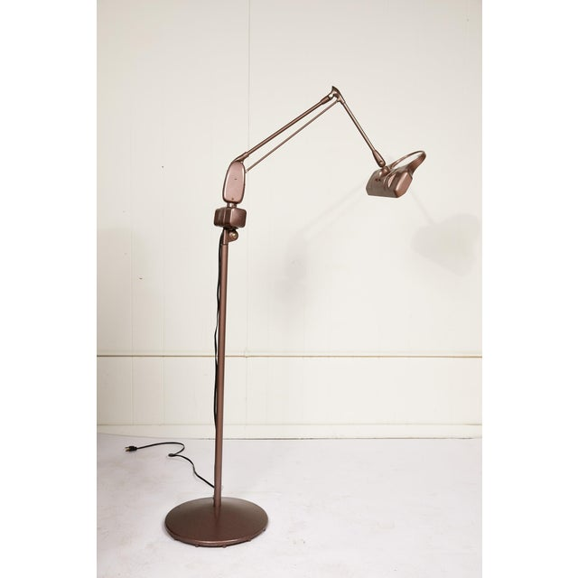 Dazor Industrial Articulating Arm Floor Lamp With Magnifier by Dazor For Sale - Image 4 of 12