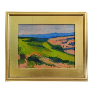 Colorful Plein Air Landscape Oil Painting W/ Gold Leaf Frame