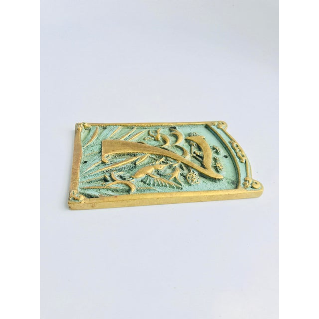 Art Nouveau Vintage « 7 » Plaque House Number Brass For Sale - Image 3 of 8
