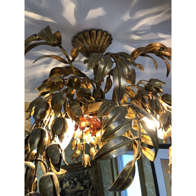 Crystal Maison Bagues Style 3 Light Flush Mount Gilded Wrought Iron and Crystal Chandelier For Sale - Image 7 of 10