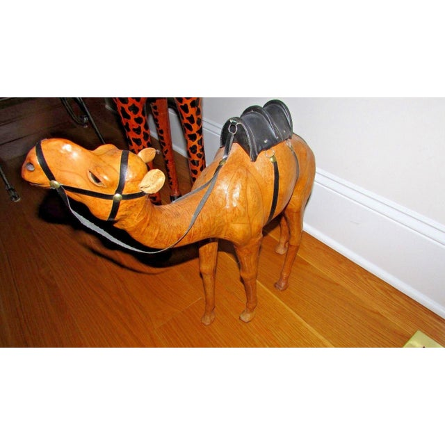 Handcrafted Leather Wrapped Paper Mache Giraffe and Camel - Set of 2 For Sale - Image 9 of 12