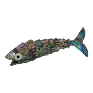 Vintage Abalone Reticulated Fish Bottle Opener For Sale