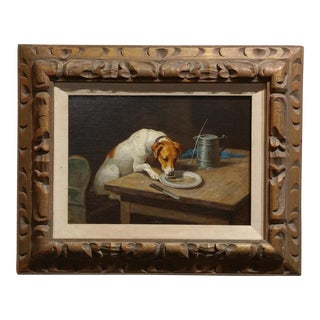 19th Century Oil Painting of Terrier Dog Licking a Plate