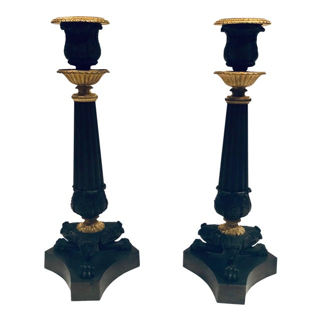 19th Century French Empire Candlesticks- a Pair For Sale