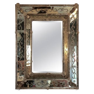 Ornate Etched Venetian Mirror For Sale