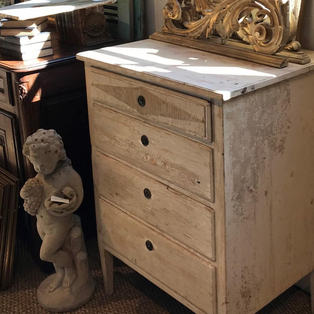 Wood 1880s French Painted White Chest Commode Chest For Sale - Image 7 of 9