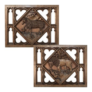 Carved Wood Panels of Lion and Sheep - a Pair For Sale