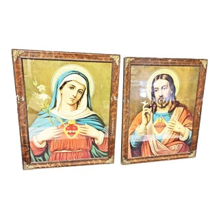Antique Religious Framed Litho Print Pair - Jesus & Mary