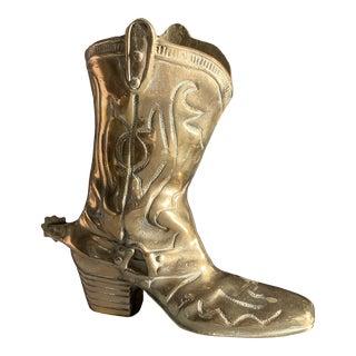 Vintage Brass Cowboy Boot For Sale