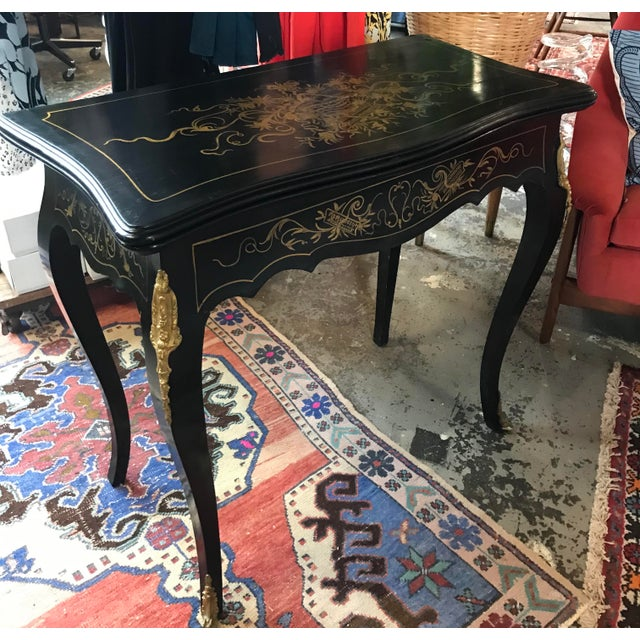 Early 20th Century 20th Century Hollywood Regency French Boulle Style Brass Game Table Console For Sale - Image 5 of 11