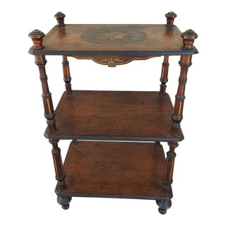 Antique Music Design Marquetry 3 Tiered Table or Stand For Sale