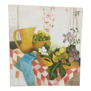 Vintage Still Life Oil Painting on Canvas For Sale